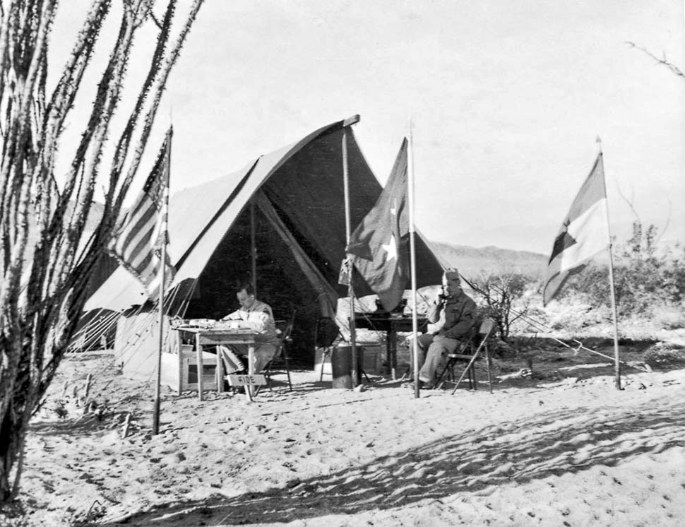 April 20 1942 - US Army Maj Gen George s. Patton's headquarters during training exercises in the California desert.